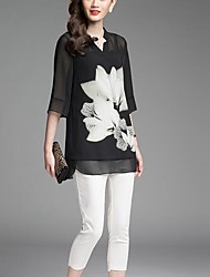 Women's Going out Simple Summer Blouse,Print V Neck ¾ Sleeve Black Polyester Thin