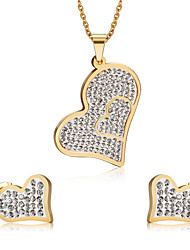 Conjunto de Jóias Imitação de Diamante Amor Coração Moda Jóias de Luxo imitação de diamante Liga Formato de Coração DouradoColares