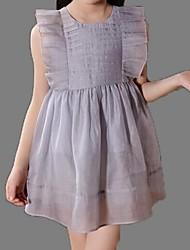Vestido Chica deUn Color-Poliéster-Verano-Verde / Rosa / Gris