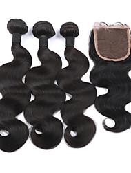cabelo virgem brasileiro com 3Bundles fechamento com cabelo humano fechamento com onda do corpo cabelo virgem brasileiro fechamento