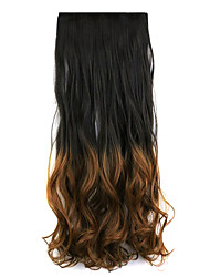 Black and Brown Length 60CM Synthetic Gradient Five Card Hair Long Straight Hair Wig(Color 2T30)