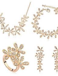 Schmuck-Set Kristall Krystall Geburtssteine Silber Golden Braut-Schmuck-Sets Hochzeit Party 1 Set Halsketten Ohrringe Ringe