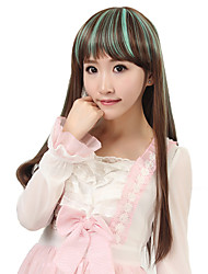 24 inch Women Long Straight Synthetic Hair Wig Cosplay Light Brown Ombre Green with Free Hair Net