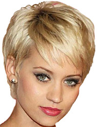 Women Short Straight Synthetic Hair Wig Blonde Heat Resistant Fiber Cheap Cosplay Party Wig Hair