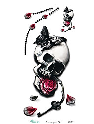 3D Large Hallowmas Horrible Skull Head Women's Pattern Arm Shoulder Temporary Fake Tatoo Stickers Waterproof