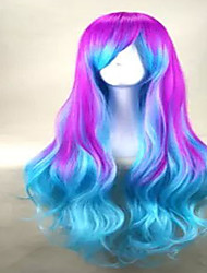 Fashion Capless  Mix Color Long Loose Wavy  Party Wig Top Quality  Synthetic Hair Wigs with Side Bang 2 Colors