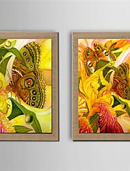 Peint à la main A fleurs/Botanique Peintures à l'huile,Modern Deux Panneaux Toile Peinture à l'huile Hang-peint For Décoration d'intérieur