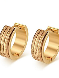 Hoop Earrings Stainless Steel 18K gold Fashion Tube Golden Jewelry Party Daily Casual 1 pair