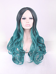 Best-selling Europe And The United States Long Curly Wig Black Gradient Green Points in Hair Wigs