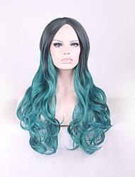 más vendido largos puntos verdes peluca rizada gradiente negro europa y los estados unidos en pelucas de pelo