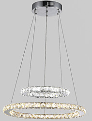 Art LED Pendant Light Crystal Ceiling Chandeliers Lighting Lamp Fixtures with 2Ring D3050CM 37.5W CE FCC ROHS