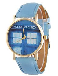 Ladies' Fashion Quartz Cartoon Police Box Leather Belt Individuality Fashionable Relaxation Watches