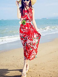 Women's Beach Boho Loose Dress,Floral Round Neck Maxi Short Sleeve Red / White / Black Polyester Summer