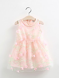 Girls Dresses Summer 2016 Sleeveless Lace Children Kids Pink Flower Dresses Cotton Child Party Princess Girl Dress