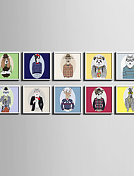 E-HOME® Framed Canvas Art, Cartoon Animal Gentleman Series Framed Canvas Print One Pcs