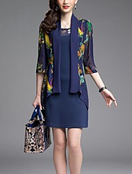 Women's Party/Cocktail / Plus Size Street chic Sheath Dress,Print Round Neck Above Knee ¾ Sleeve Blue / Black Polyester Summer