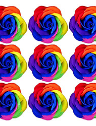 Romantic Novelty Soap Rose Flower Gift for Lovers Washing(Random Color) 9pcs/set