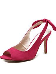 Women's Shoes  Stiletto Heel Heels / Peep Toe / Slingback Sandals Wedding / Outdoor / Dress Black / Fuchsia
