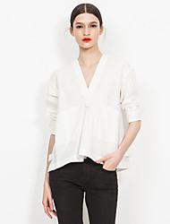 Europrimo® Damen V-Ausschnitt Lange Ärmel Shirt & Bluse Weiß-EUFCZ120