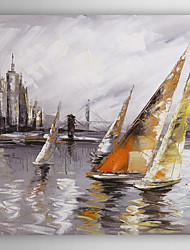 Hand Painted Oil Painting Landscape Ship Near Harbour I with Stretched Frame 7 Wall Arts®