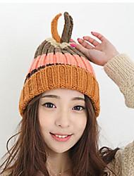 Women Casual Knitting Wool Cute Rabbit Ears Warm Stripes Colored Hat