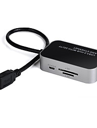 USB 3.0 2 порта / интерфейса USB считыватель карт Концентратор SD / TF 10/100 / 1000Mbps Gigabit Ethernet адаптер мини-комбо 7,6 * 4,6 * 2