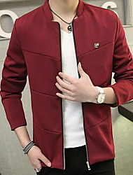 Men's Long Sleeve Jacket,Cotton Solid