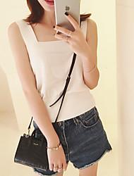 Women's Solid White / Black Vest,Sexy / Street chic Sleeveless