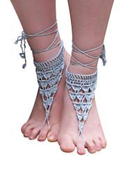 crochet à la main en coton cheville chaîne de cheville des femmes creusent des sandales aux pieds nus