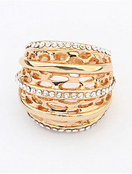 Top Quality Flower Hollowing Craft 18K Rose Plated Ring Fashion Jewelry