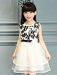 Girl's Casual/Daily Print Dress,Polyester Summer Black / Red