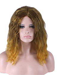 Middle Long Two Tone Ombre Color Synthetic Hair Wig.