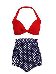 Bikinis Taille Haute Pois Rétro Push-Up Licou Nylon Polyester