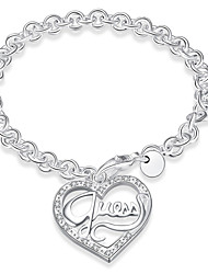 Ms Heart-shaped Silver Bracelet