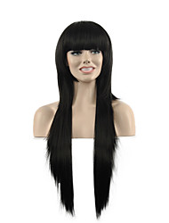 Natural Long Length Black Color Popular Straight Synthetic Wig For Woman