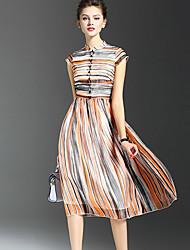 Mulheres Vestido Swing Moda de Rua Listrado Médio Colarinho Chinês Seda / Poliéster