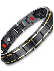Men's Jewelry Health H Power Black Stainless Steel Magnetic Bracelet