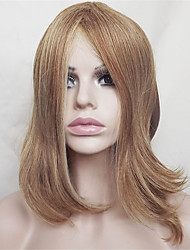 Europe And The United States Sell Lots of Golden Brown Hair Naturally Curly Wigs 14 Points in The Middle And Inch