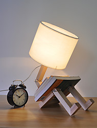 Retro Single Head Wooden Material with Fabric Shade Table Lamp for Indoor House Decorate Dest Lamp
