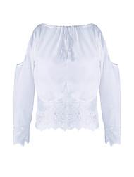 Women's Beach/Casual Lace Hem Long Sleeve Short T-shirt