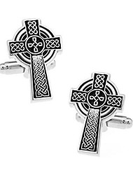 Men's Fashion Cross Style Silver Alloy French Shirt Cufflinks (1-Pair)