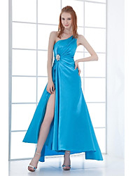 Formal Evening Dress A-line One Shoulder Asymmetrical Stretch Satin