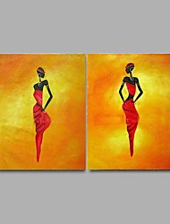 Hand-painted Abstract Oil Painting 2 Piece/Set Wall Art with Stretched Frame