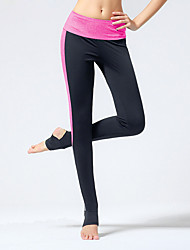 Yoga Pants Tights Breathable / Four-way Stretch / Compression Natural High Elasticity Sports Wear Pink / Gray