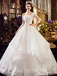 A-line Wedding Dress Floor-length Bateau Tulle with Beading / Lace / Ruffle / Appliques