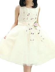 Robe Fille de Jacquard Polyester Eté Rose / Jaune