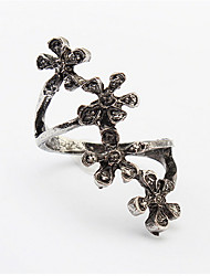 Black Color Flower Rings for Women Fashion Fish Wire Hollow Party Casual Rings Fine Jewelry