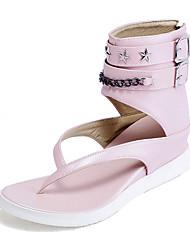 DamenKleid / Lässig-Kunstleder-Plateau-Modische Stiefel / Pantoffeln-Rosa / Weiß / Silber