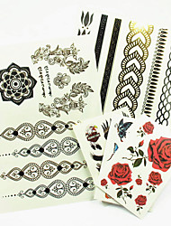3PCS Colorful Tattoos+ 2PCS Flash Tattoo Gold Tattoo Fake Taty Metallic Tattoo Temporary Tattoo Sticker Metal Tatoos