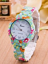 Women's New European Style Fashion Printing Flower Geneva Wrist Watch